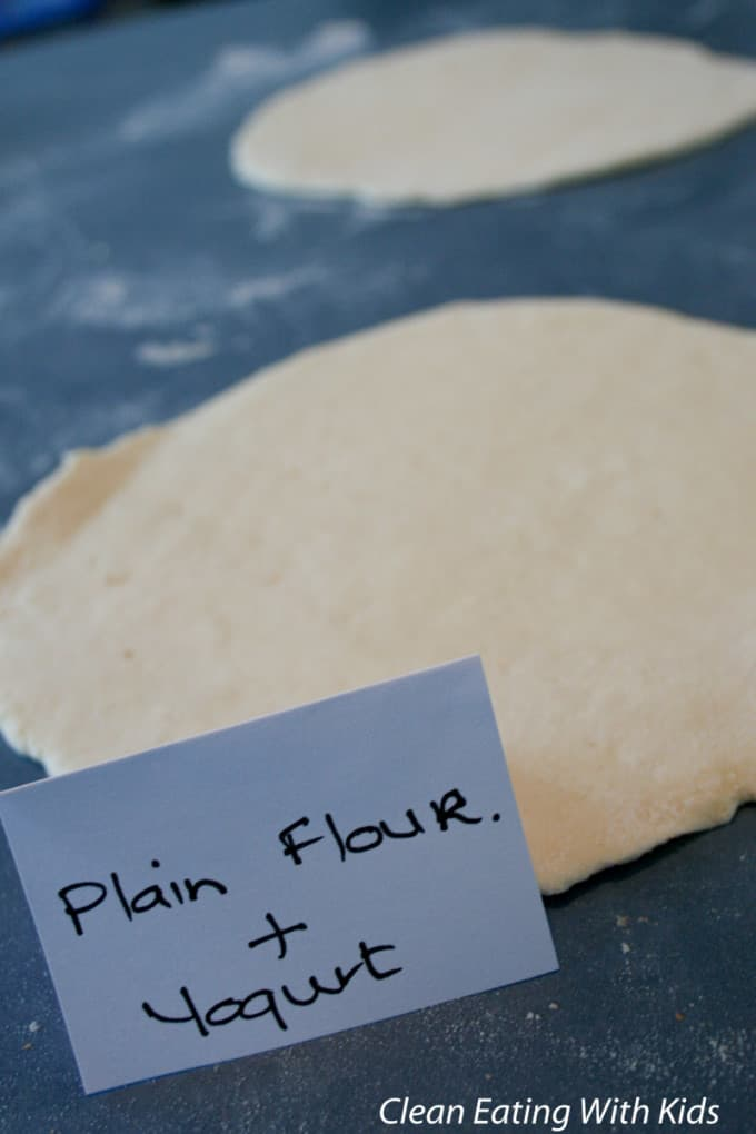 Two ingredient pizza dough using plain flour and yogurt.