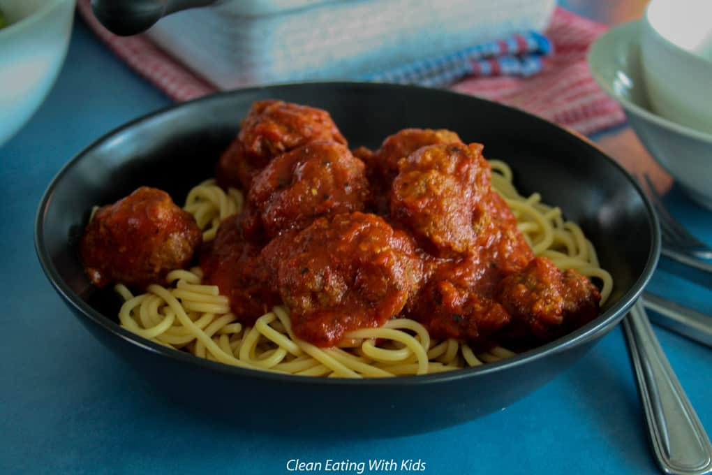 Clean Eating oven baked meatballs in tomato sauce
