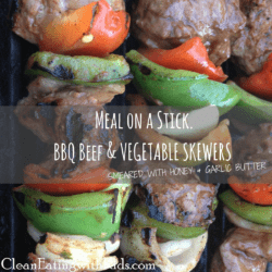 Meal on a Stick: Beef & Vegetable Skewers with Honey and Garlic Marinade.