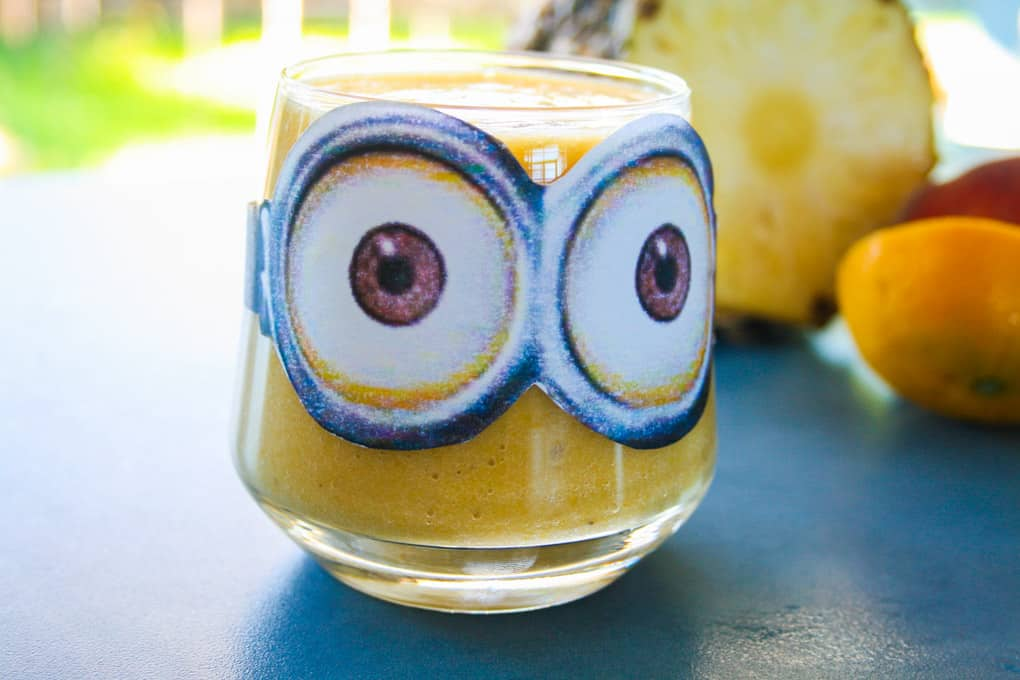 minion smoothie with peach and pineapple
