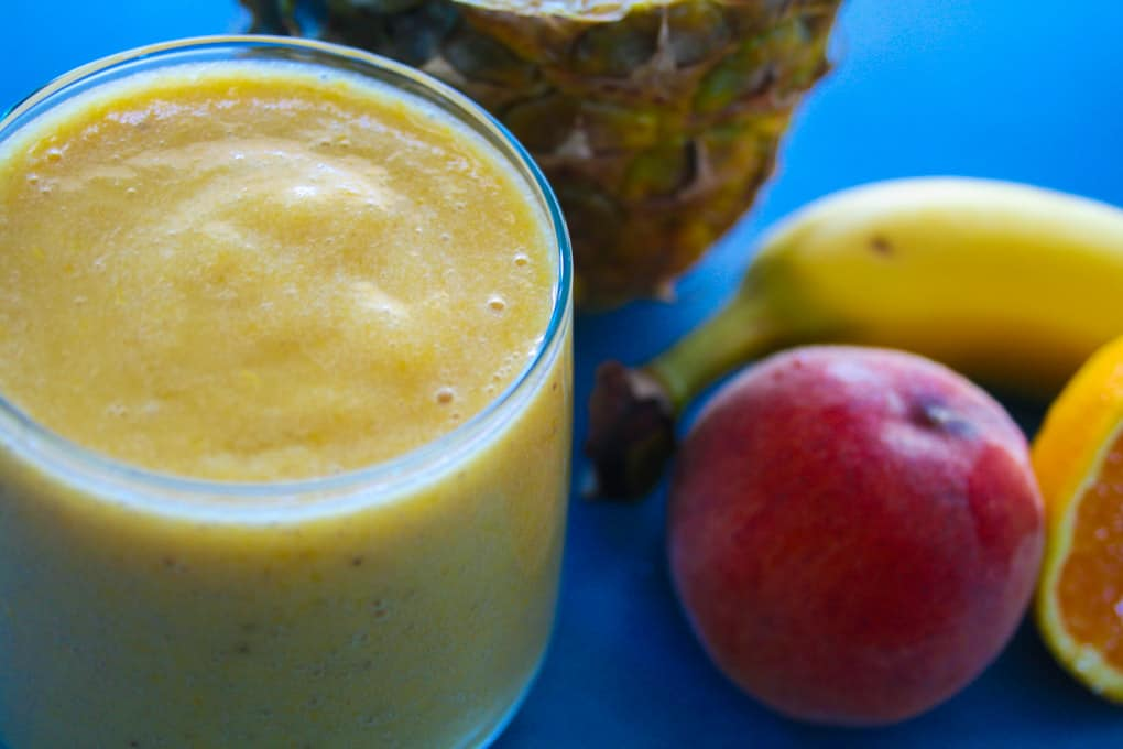 clean eating peach and pineapple smoothie-7
