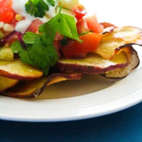 Oven baked Sweet Potato Fries with Kid friendly Tomato and Cucumber Salsa
