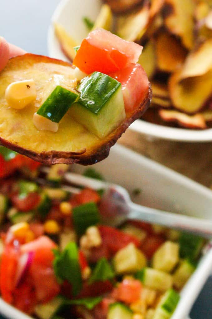 Clean Eating Sweet Potato fries and salsa-7
