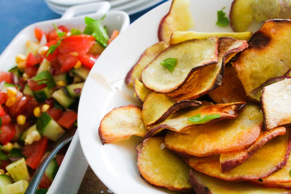 clean eating sweet potato fries and salsa
