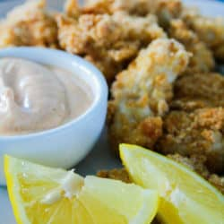 Oven Baked Popcorn Chicken with Chipotle Dipping Sauce
