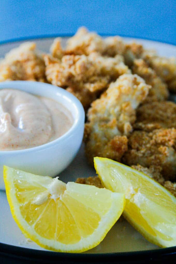 Oven Baked Popcorn Chicken with Chipotle Dipping Sauce ...