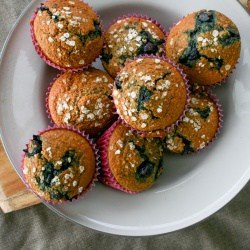 Clean Eating Oat Bran Blueberry Muffins