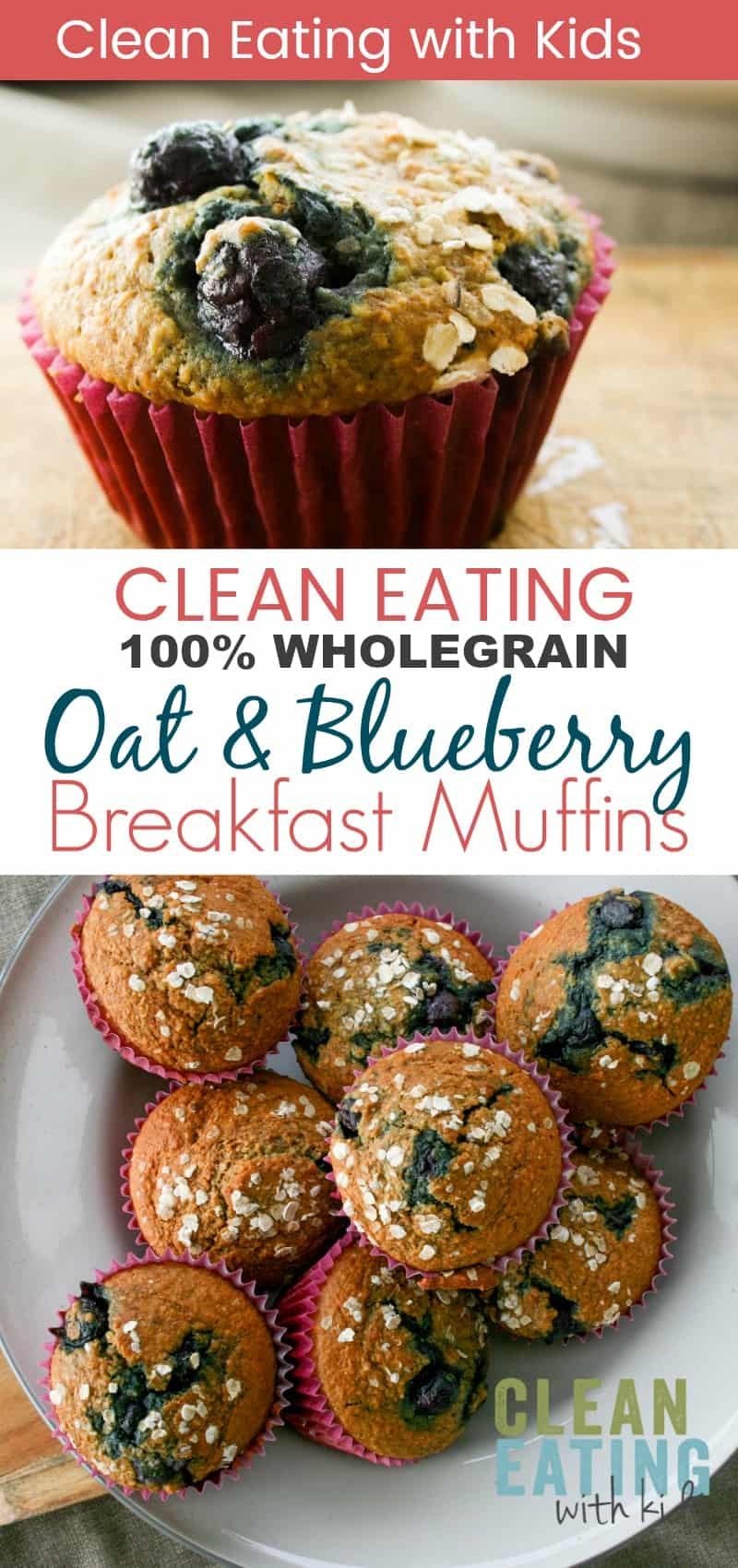 Clean Eating Breakfast Recipe. 100% Whole grain oat and blueberry muffins.