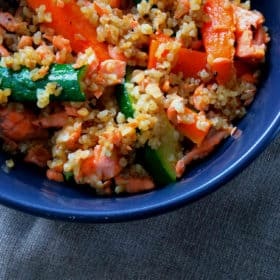 Salmon & Bulgar Wheat Stir Fry. 5 Ingredients. 15 Minutes.