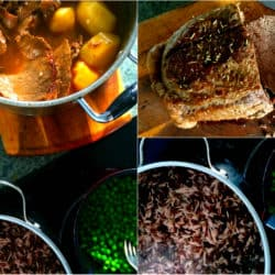 Classic beef pot roast with domino rice and buttered peas.