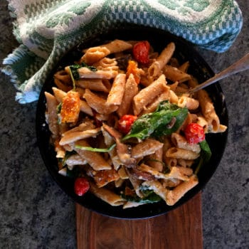 whole wheat pasta with creamy pesto