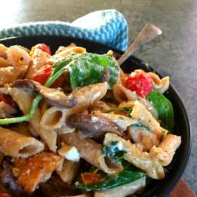Simple Pesto & Cream Wholewheat Pasta with Vegetables and Feta