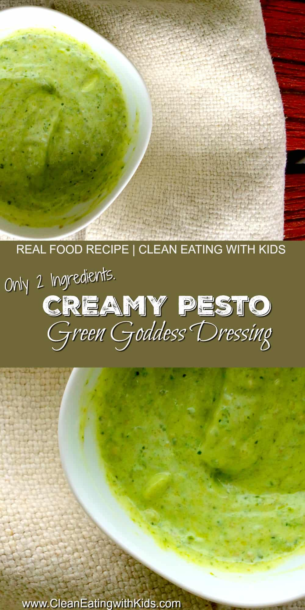 creamy pesto dressing to use in pasta, salad, dipping sauce or topping for baked potato!