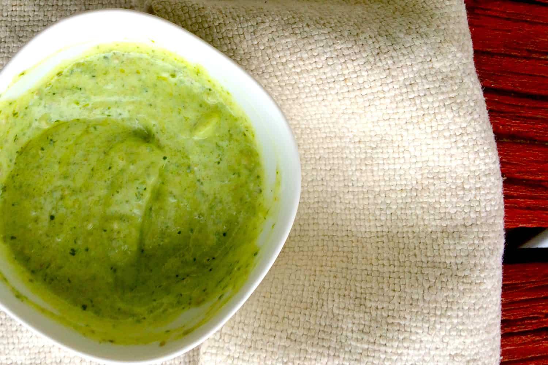 Green Goddess Creamy Pesto Dressing (Only 2 Ingredients)