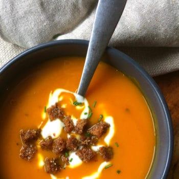 three ingredient butternut soup