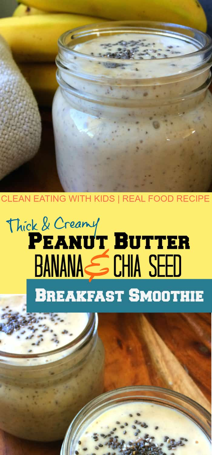 Clean Eating Peanut Butter and Banana Breakfast Smoothie - this tastes amazing! It's super thick, creamy and filled me up all morning.