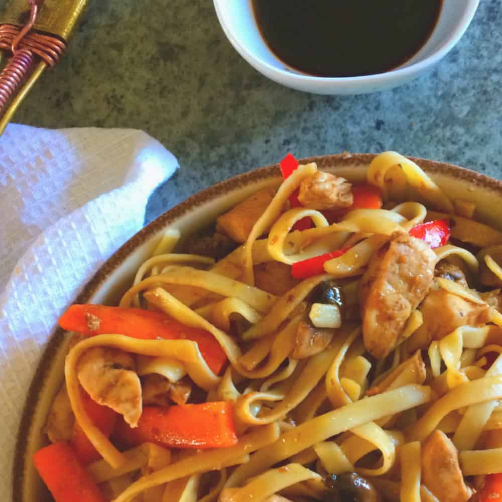 Spicy Thai Noodles - Sticky, sweet and So damn delicious! My kids love it!