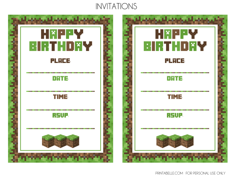 Minecraft Party Printables From Upcycled Treasures Simple Invite Card A5 One Page
