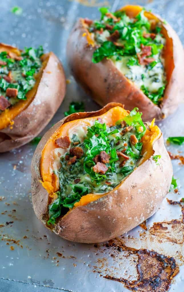 I was looking for some easy recipes for dinner but I think I might have found my new favorite thing to do with sweet potatoes! Made it with creamy spinach and bacon filling- Ahhhmazing!!!