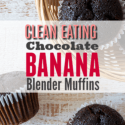 These Chocolate Banana Muffins are made in a blender! Super moist and chocolaty. The kids loved them! Definitely making these again!