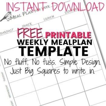 Free Printable Weekly Meal Plan Template