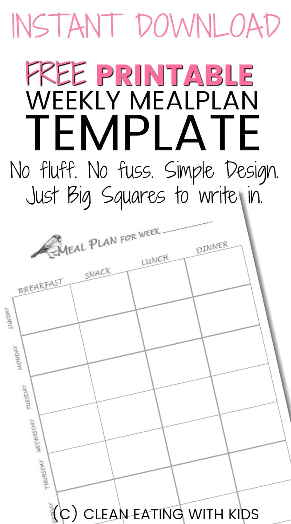 image regarding Meal Planner Free Printable known as Absolutely free Printable Weekly Evening meal Method Template - Fresh Consuming with