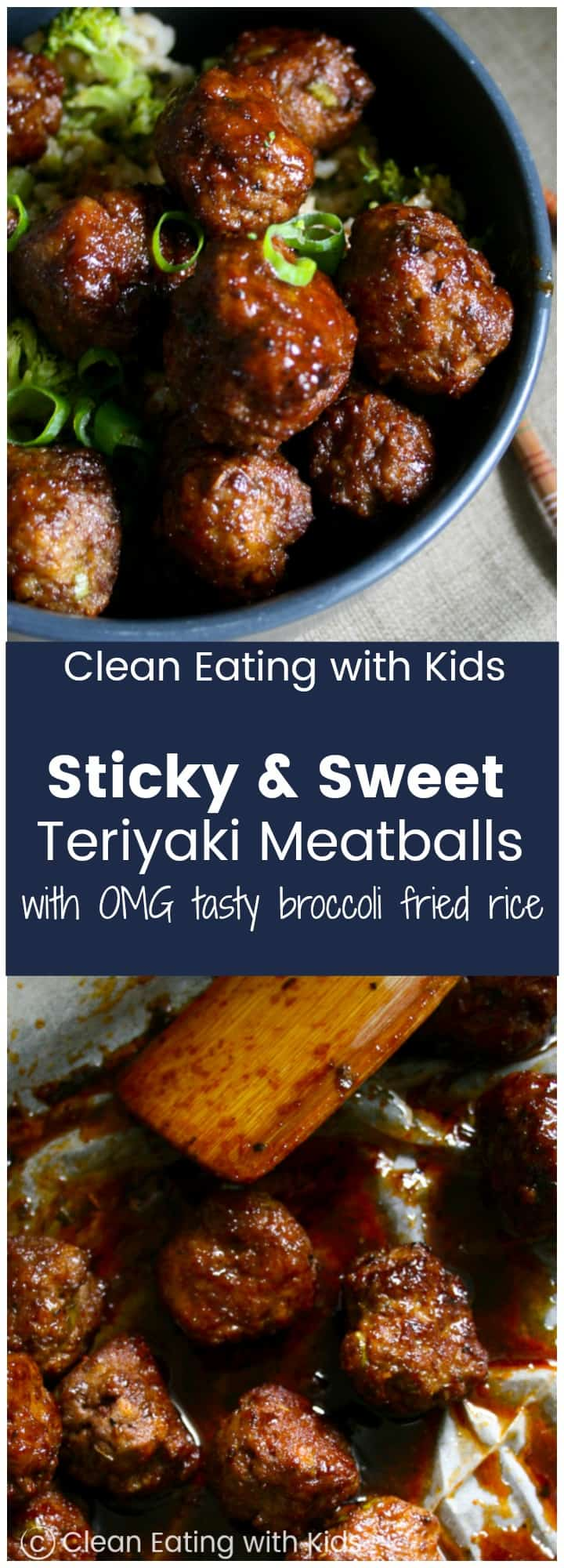 Sweet & Sticky Teriyaki Meatballs piled on top of a really yummy broccoli fried rice.