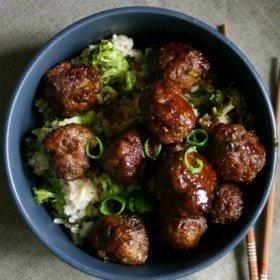 Sweet & Sticky Teriyaki Meatballs piled on top of a really yummy broccoli fried rice.