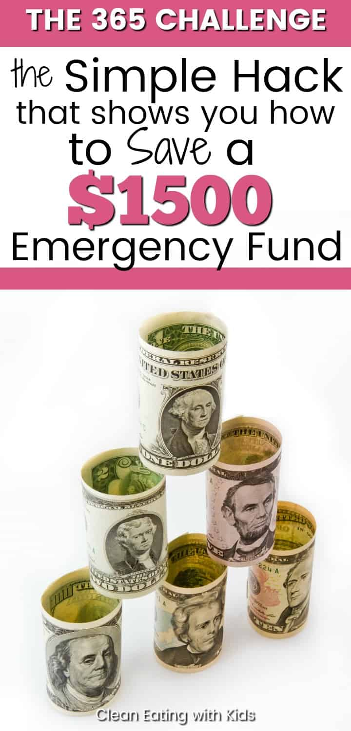 The Simple Hack to Save a $1500 Emergency Fund This Year. It's called the 365 challenge. And it works. The simple system relies on the principle that small dollars add up. And we are going to use it with one goal in mind - To Build our Emergency Fund this year.