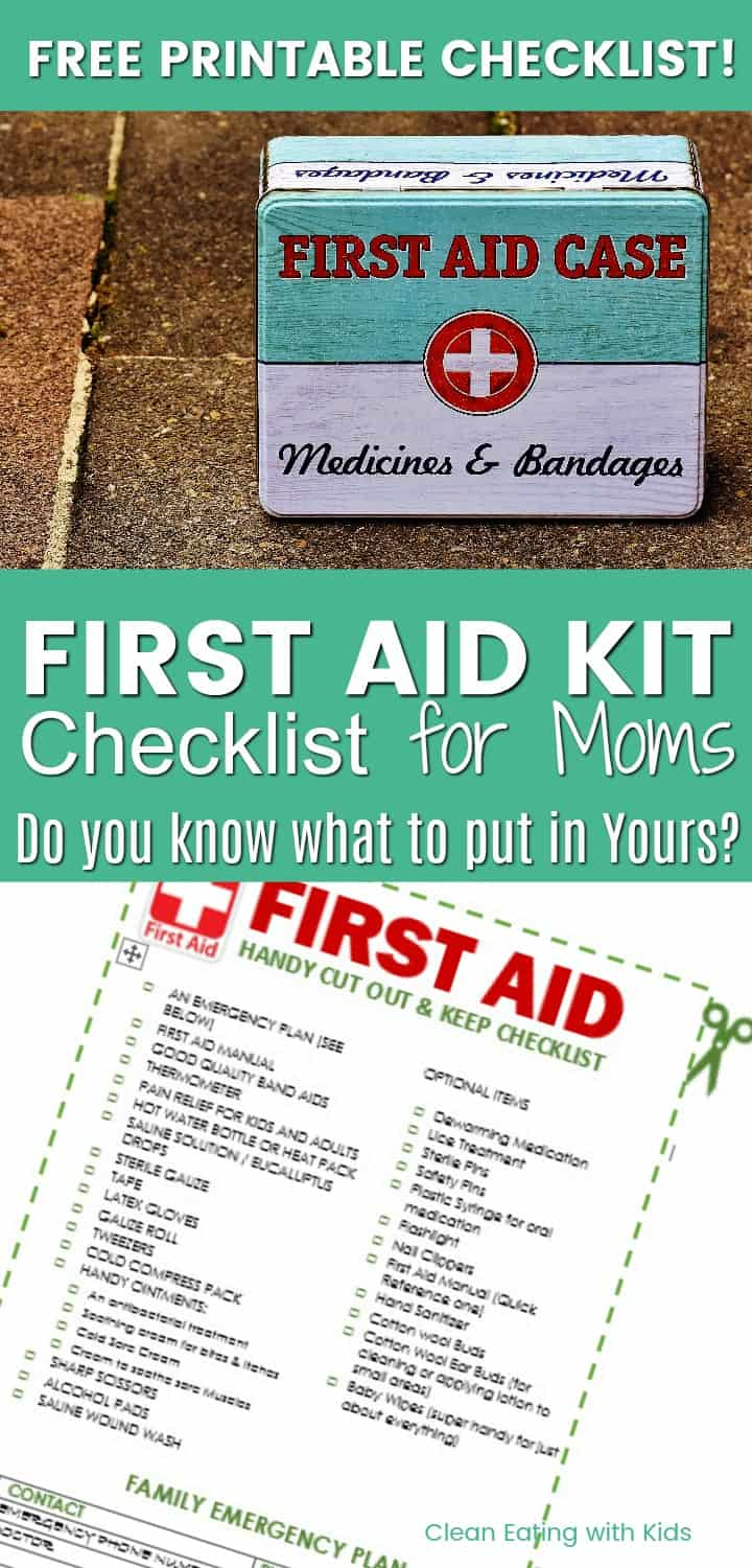 What to keep in your first aid kit for moms clean eating with kids free printable first aid checklist for moms do you know what you should keep in fandeluxe Gallery