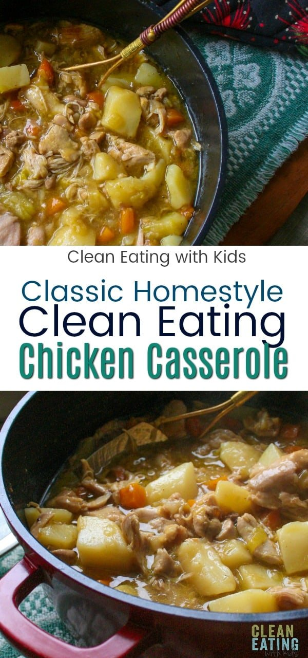 A Classic, hearty clean eating chicken casserole that warms the tummy and the heart. This traditional family meal is packed with winter veggies and will have even the fussiest member of your family coming back for more.