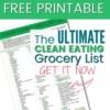 FREE PRINTABLE: Clean Eating Grocery List