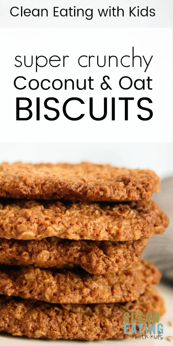 Clean Eating Coconut and Oat Biscuits. A Real food makeover of the classic anzac biscuit. Wholegrain & Refined Sugar Free. Perfect for school lunches or dipped in a cuppa hot tea.