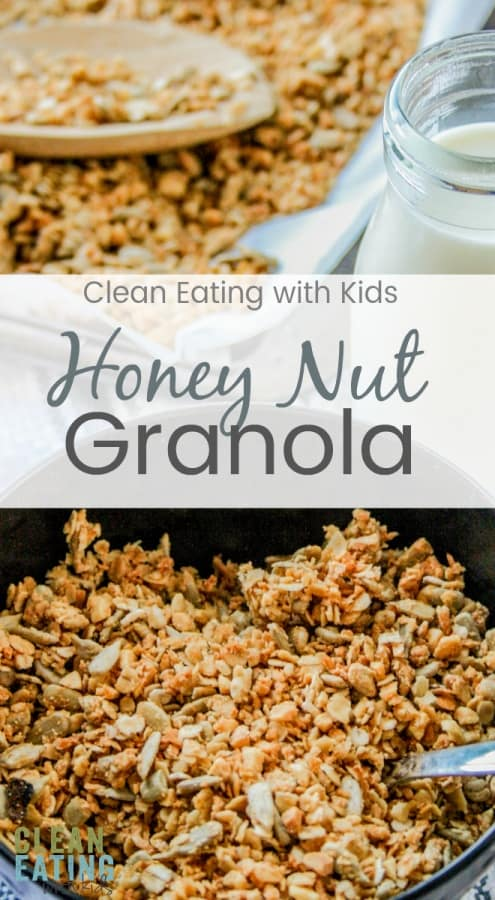 Clean Eating Honey Nut Granola. Super Easy to Make and saves you a ton of money in groceries too.