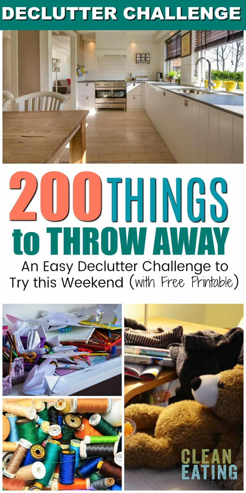 Easy Declutter Challenge: 200 Things to throw away (plus free printable)