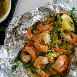 Lemon Garlic Shrimp & Vegetable Cous Cous Foil Packets