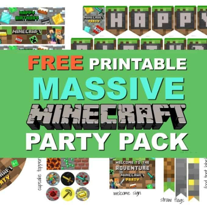 graphic regarding Minecraft Birthday Banner Free Printable named Huge Minecraft Printable Social gathering Pack - Fresh Consuming with small children