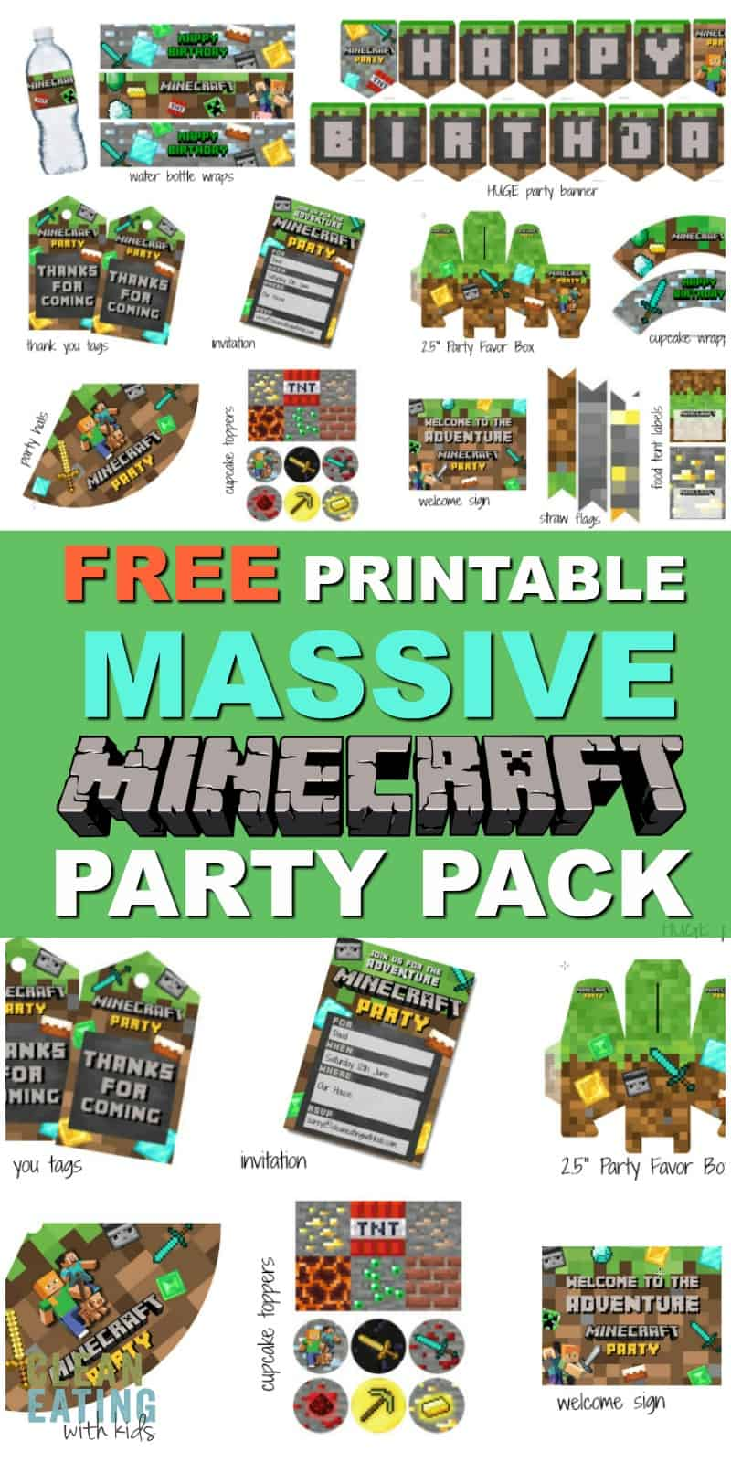 This is insane! FREE Massive Printable Minecraft Party Pack. It has Everything you need to Host a Minecraft Party.