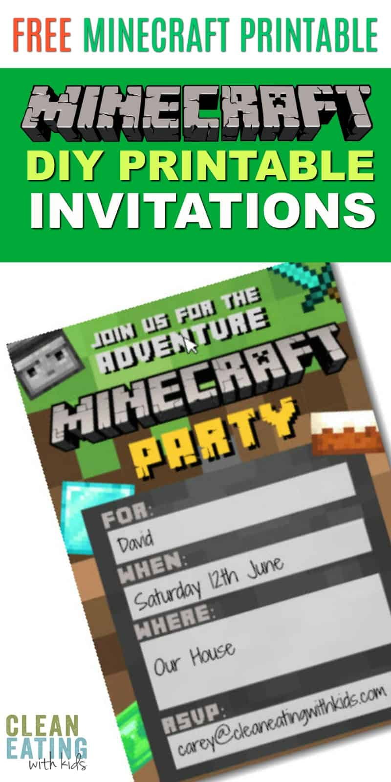 Free Diy Printable Minecraft Birthday Invitation Clean Eating With