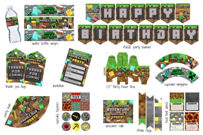 photo regarding Minecraft Labels Printable named Huge Minecraft Printable Celebration Pack - Fresh new Ingesting with small children
