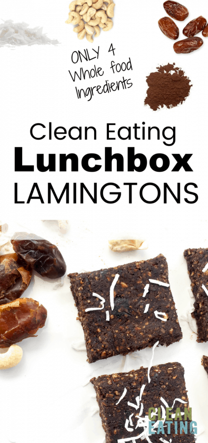 Easy to make No Bake Clean Eating Lunchbox Lamingtons. Only 4 whole food ingredients and  a couple minutes in the food processor. Seriously simple, but really tasty and perfect for the school lunch box.