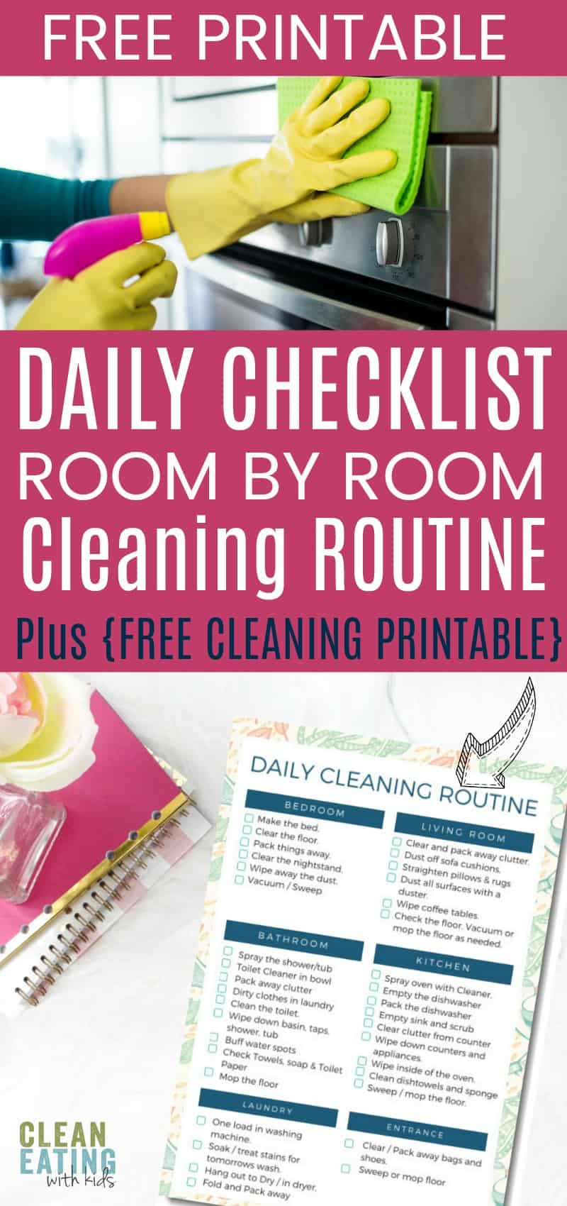 Easy Daily Cleaning Routine Checklist and {free Printable}