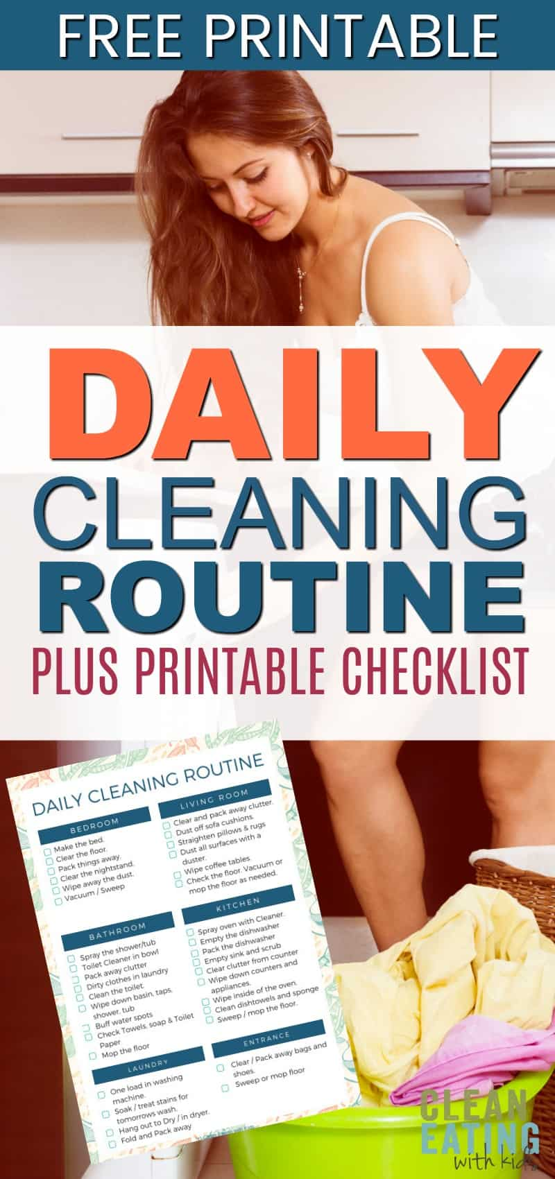 Daily Cleaning Routine Checklist and {free Printable}