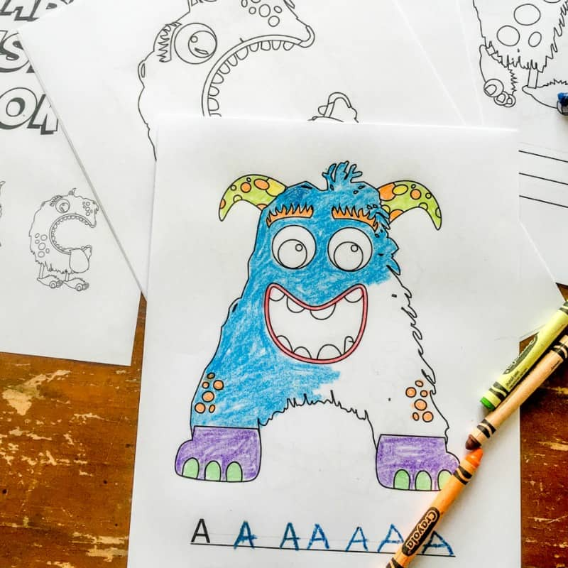 26 ALPHABET MONSTER COLORING PAGES