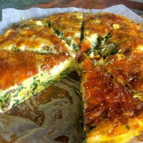 Clean Eating Spinach, Chicken & Feta Crustless Quiche