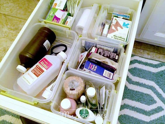 You'll have to think of a new name for the Junk Drawer once it looks like this! Creating modules inside the drawer help corrale related items together and gives you a clean, birds eye view of the contents.