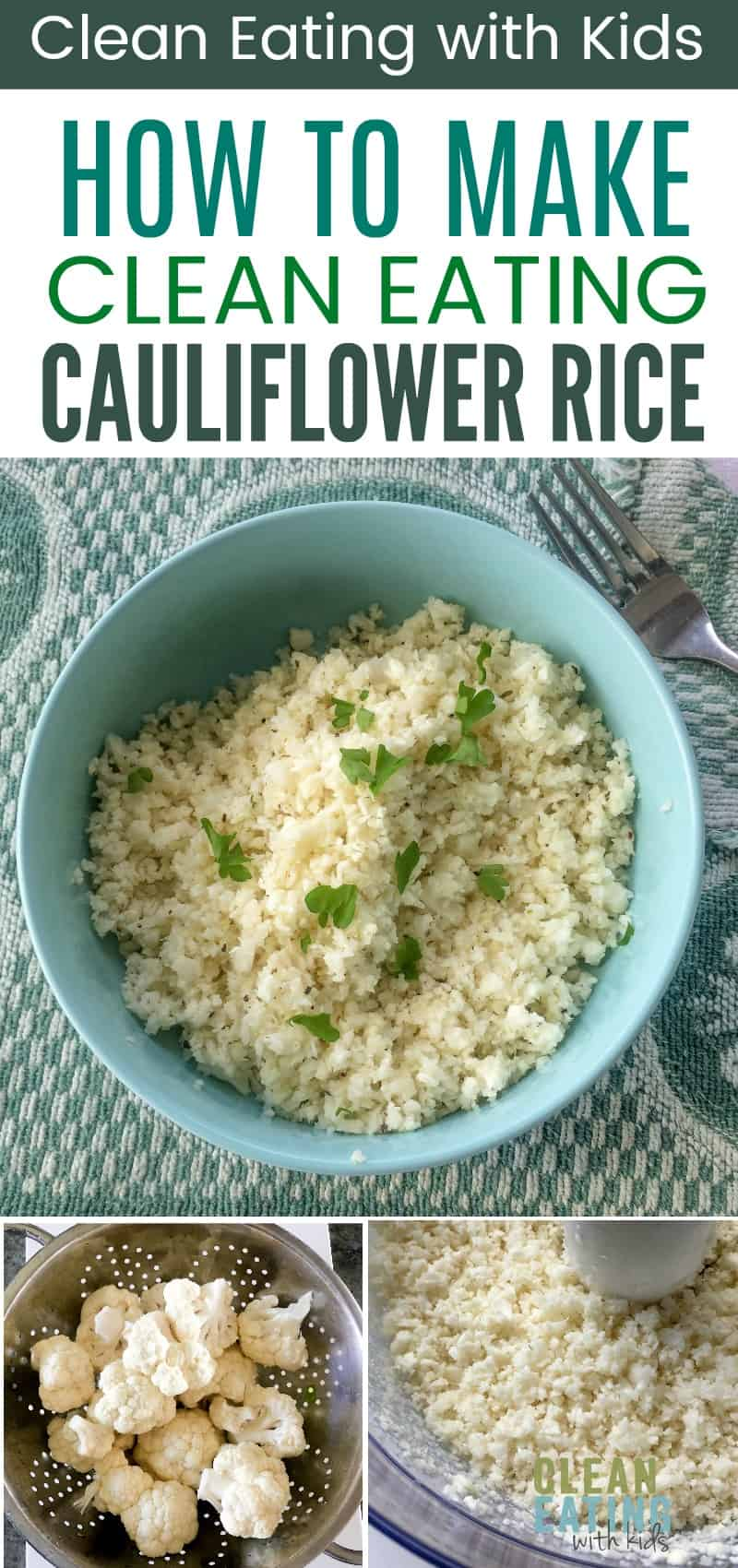How to Make Clean Eating Cauliflower Rice. A Low carb rice substitute that's Paleo, Gluten Free and Keto. Only 25 Calories in an entire Cup.