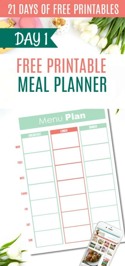 DAY 1 of the 21 Days of Free Printables Series: {One Page} Meal Planner