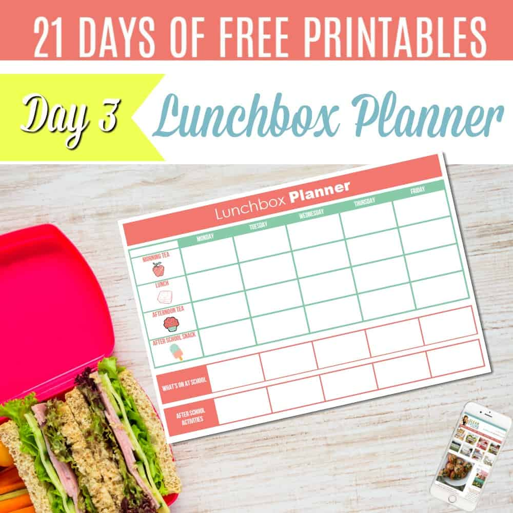 {FREE PRINTABLE} LUNCHBOX PLANNER