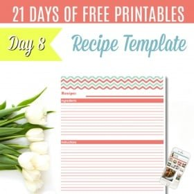 DAY 8: {Free Printable} One Page Recipe Template